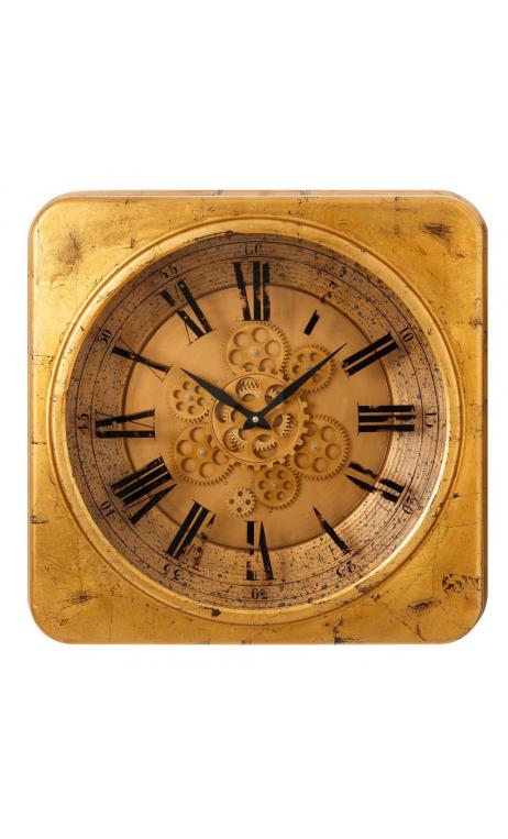 Reloj cuadrado oro metal 54x5x54