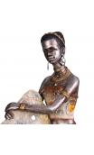 Figura africana plata antigua, 18,50x15,00x20,00 cm