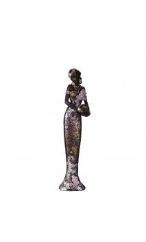 Figura africana vestido morado 8,60x6,20x32,80 cm
