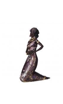 Figura africana vestido morado 17,70x9,50x29,00 cm