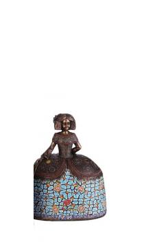 Figura Menina bronce azul claro Grande 17,50x11,50x22,00 cm