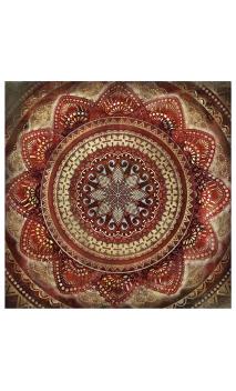 Cuadro lienzo impresión cenefa rojo-oro 80x80 cm
