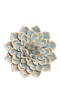 Mural pared flor azul oro metal 60