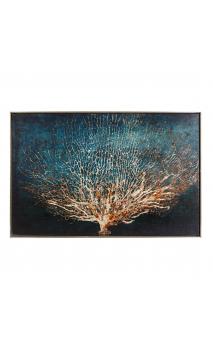 Cuadro Corales azul con marco