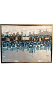 Cuadro Abstracto Ciudad Azul 3D