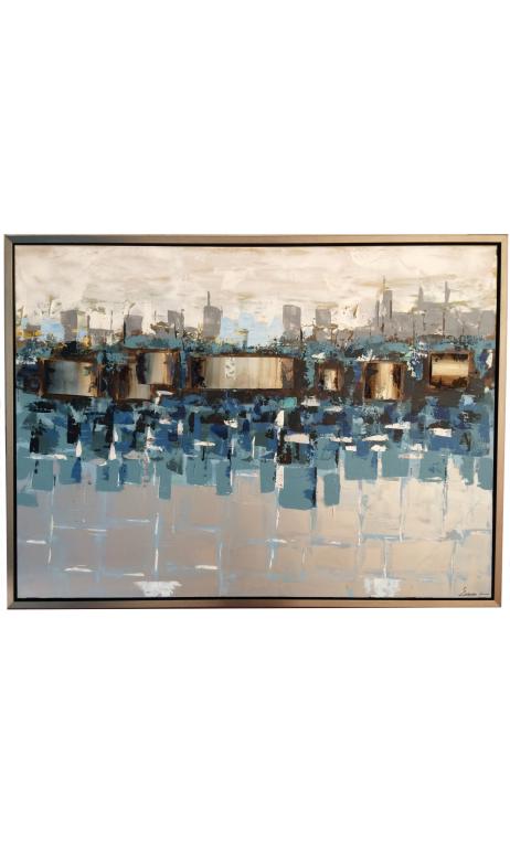 Comprar cuadro abstracto ciudad azul 3d online cuadros for Ver 3d online