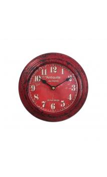 Reloj pared rojo metal Decoración