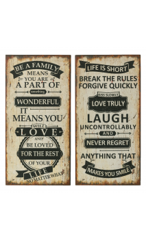 Placa pared SET DE 2 dm negro blanco BE A FAMILY / LIFE IS SHORT