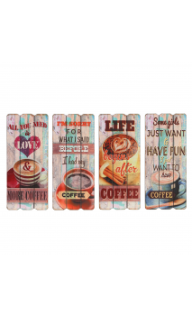 Placa pared Café set de 4DM multicolor