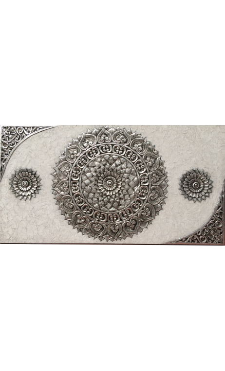 Cuadro Mandala Plata 150 cm