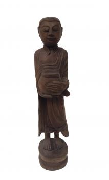 Figura Monje madera con vasija natural