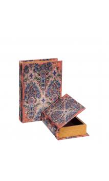 Set 2 Cajas Libro Flores Azul