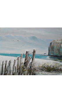 Cuadro playa azul crema