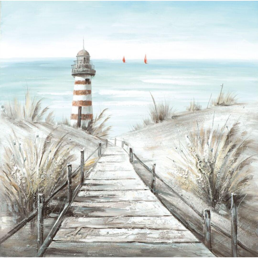 Comprar cuadro playa faro 80x80cm online - cuadros