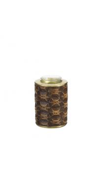Portavelas Tortuga marrón-oro