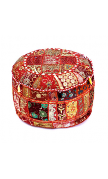 Pouf Èctnico Rojo bordado 60x60x30 cm