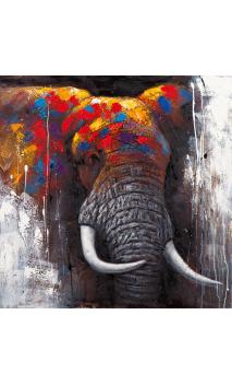 Cuadro Elefante Color 110x110 cm