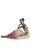 Figura africana plata antigua 22,50x11,00x16,00 cm