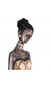 Figura africana plata antigua, 10x12x60 cm
