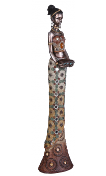 Figura africana plata antigua cuenco A, 9,00x7,50x40,00 cm