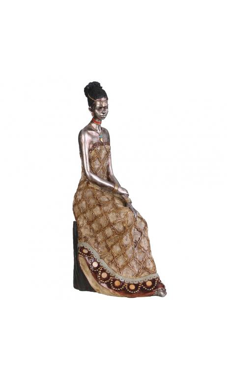 Figura africana plata antigua, 14,50x8,50x30,00 cm