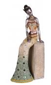 Figura africana plata antigua A, 15,00x10,50x35,00 cm