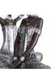 Figura africana bronce-plata A, 16,00x10,50x19,50 cm