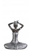 Figura africana bronce-plata B, 16,00x10,50x19,50 cm