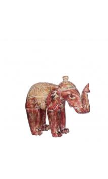 Figura elefante rojo madera 31,00x11,00x24,50 cm