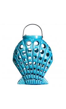 Portavelas turquesa de cerámica 23,00x17,00x28,00 cm