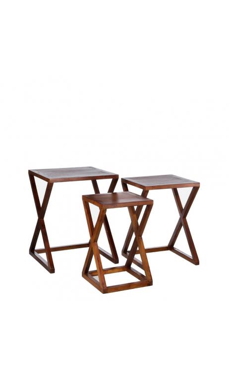 Set de 3 mesitas marrón madera 45x45x58 cm