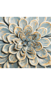 Mural pared flor azul oro metal 60