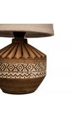 Lámpara mesa marrón cerámica tejido 26