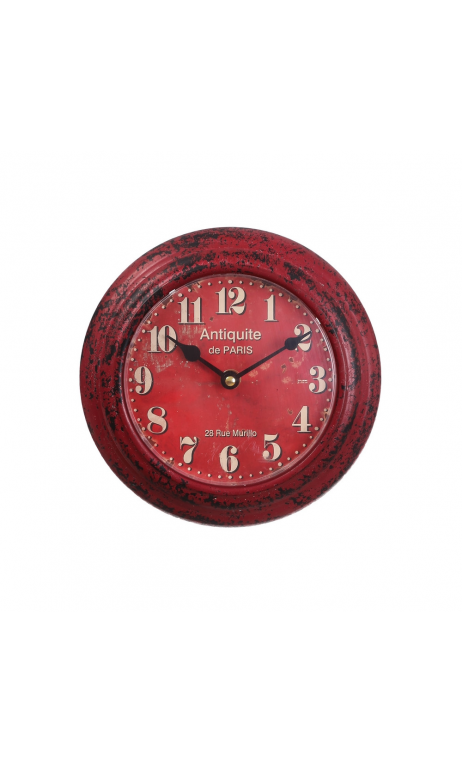 Reloj pared rojo metal Decoración