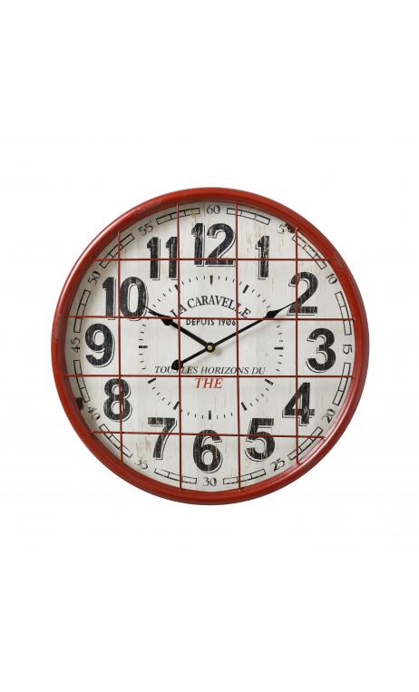 Reloj blanco rojo metal 51x51