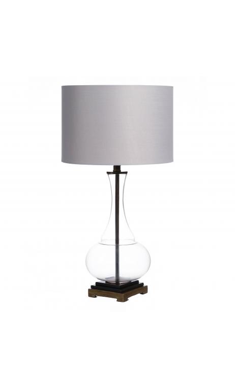 Lámpara mesa gris cristal