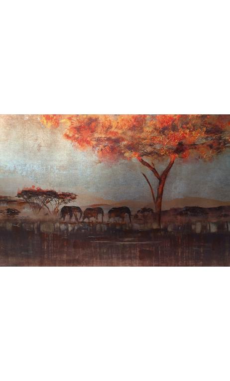 Cuadro manada elefantes