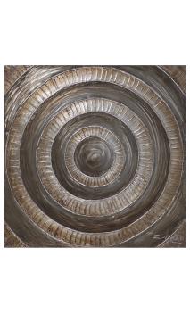 Cuadro Pintura Círculos marrón-oro 100x100 cm