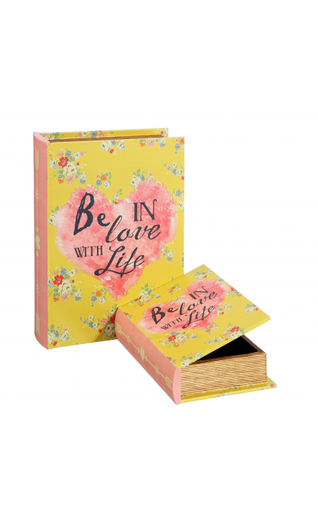 Set 2 Cajas Libro LOVE Amarillo