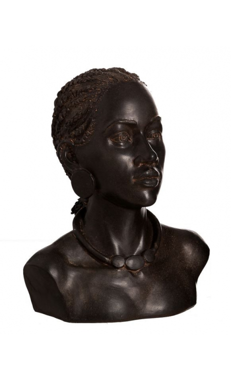 Figura busto étnico 1 marrón resina