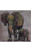 Cuadro familia elefante Relieve