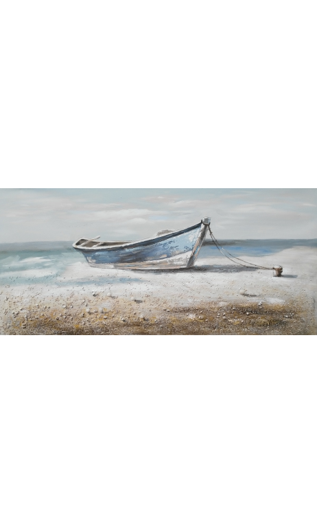 Cuadro barca crema azul 150