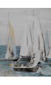 Cuadro veleros blanco azul 120