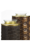 Portavelas Cocodrilo negro-oro