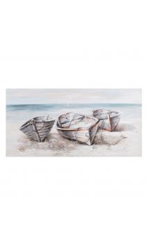 Cuadro Barca Azul-Crema 140x3,50x70 cm