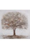 Cuadro Árbol Blanco-Crema 100x100 cm