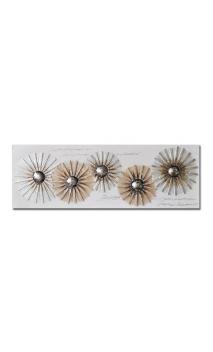 Cuadro Flores Crema Decorativo 60 x 150 cm