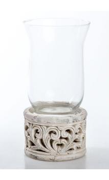 Portavelas Cerámica Vaso Cristal