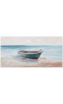 Cuadro barca crema azul 140