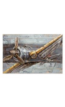 Cuadro Avión Metal 3D